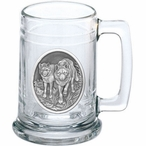 Two Wolves Glass Beer Mug with Pewter Accent