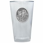 Two Wolves Pint Beer Glasses with Pewter Accent, Set of 2