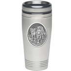Two Wolves Stainless Steel Travel Mug with Pewter Accent