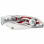 U.S. Air Force Red Stainless Steel Pocket Knife with Pewter Accent