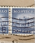 U.S. Postage Stamp Monticello Wrapped Canvas Giclee Print Wall Art