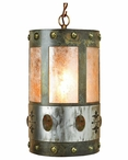 Unakite Stone Metal Round Pendant Light