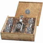 Unicorn Capitol Decanter & DOF Glasses Box Set with Pewter Accents