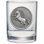 Unicorn Pewter Accent Double Old Fashion Glasses, Set of 2
