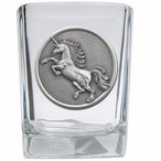 Unicorn Pewter Accent Shot Glasses, Set of 4