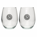 Unicorn Pewter Accent Stemless Wine Glass Goblets, Set of 2