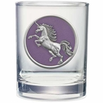 Unicorn Purple Pewter Accent Double Old Fashion Glasses, Set of 2