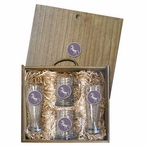 Unicorn Purple Pilsner Glasses & Beer Mugs Box Set with Pewter Accents