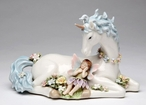 Unicorn with Fairy Musical Music Box Sculpture