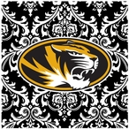 University of Missouri Tigers Pattern Ceramic Trivets, Set of 2