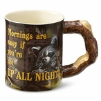 Up All Night Raccoon Sculpted Stoneware Coffee Mugs, Set of 6