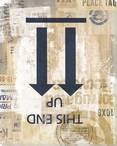 Upside Down This End Up Blue Arrows Wrapped Canvas Giclee Print