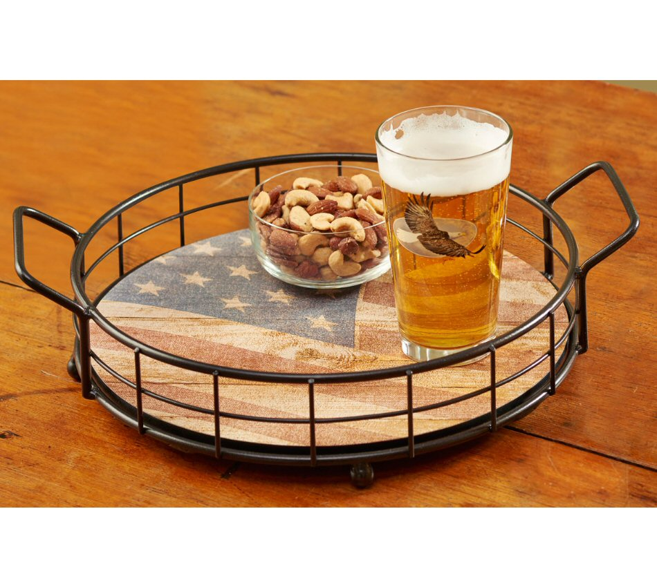 USA Flag Old Glory Metal And Wood Serving Trays, Set Of 2