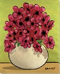 Vase of Pansies Flowers Wrapped Canvas Giclee Print Wall Art