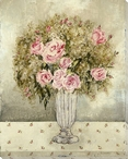 Vase of Roses Wrapped Canvas Giclee Print Wall Art