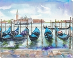 Venice Boats 3 Wrapped Canvas Giclee Print Wall Art