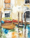 Venice Boats 6 Wrapped Canvas Giclee Print Wall Art