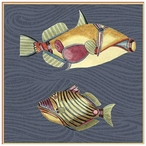 Very Fishy Dark Blue Abstract Fish Vintage Style Wooden Sign