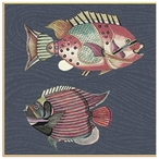 Very Fishy Dark Blue Lines Abstract Fish Vintage Style Wooden Sign