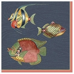 Very Fishy Dark Blue with Edge Abstract Fish Vintage Style Wooden Sign
