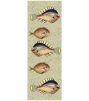 Very Fishy Light Abstract Fish Vertical Vintage Style Wooden Sign