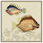 Very Fishy with Coral Abstract Fish Vintage Style Wooden Sign