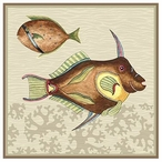 Very Fishy with Coral Brown Abstract Fish Vintage Style Wooden Sign