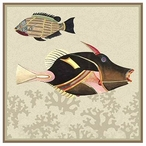 Very Fishy with Coral Dark Abstract Fish Vintage Style Metal Sign