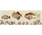 Very Fishy with Tan Coral Abstract Fish Vintage Style Wooden Sign