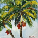 Vibrant Palm Trees I Wrapped Canvas Giclee Print Wall Art