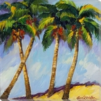 Vibrant Palm Trees II Wrapped Canvas Giclee Print Wall Art