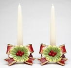 Victorian Harvest Porcelain Taper Candle Holders, Set of 2