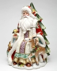 Victorian Harvest Santa with Reindeer Porcelain Jar