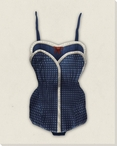 Vintage Bathing Suit Blue Wrapped Canvas Giclee Print Wall Art