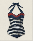 Vintage Bathing Suit Striped Wrapped Canvas Giclee Print Wall Art