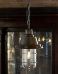 Vintage Nautical Style Metal Pendant Light with Glass Globe