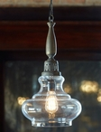 Vintage Oil Lamp Glass Pendant Lights, Set of 2