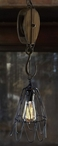 Vintage Pulley Industrial Style Metal Pendant Lights, Set of 2
