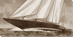 Vintage Racing Yacht Wrapped Canvas Giclee Print Wall Art