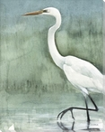 Wading Through the Fog Egret Bird Wrapped Canvas Giclee Print Wall Art