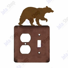Walking Bear Double Metal Outlet Cover with Single Toggle