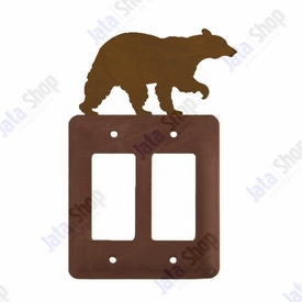 Walking Bear Double Rocker Metal Switch Plate Cover