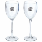 Walking Buffalo Pewter Accent Wine Glass Goblets, Set of 2