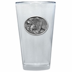 Walking Grizzly Bear Pint Beer Glasses with Pewter Accent, Set of 2
