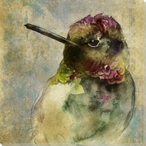 Watercolor Hummingbird Right Wrapped Canvas Giclee Print Wall Art
