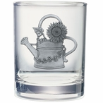 Watering Can Pewter Accent Double Old Fashion Glasses, Set of 2