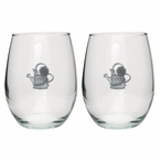 Watering Can Pewter Accent Stemless Wine Glass Goblets, Set of 2