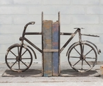 Weathered Brown Bicycle Metal Bookends