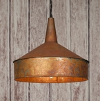 Weathered Copper Metal Funnel Pendant Lamp Light