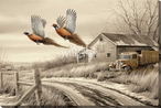 Weathered Memories Pheasants Wrapped Canvas Giclee Art Print Wall Art